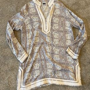 Gray and White Mudpie Tunic- Size Large
